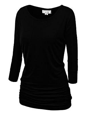 Match Women's 3/4 Sleeve Drape Top Side Shirring