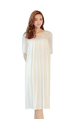 Womens Vintage Princess Hollow Short Sleeves Sleepwear Nightgown