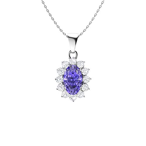 Diamondere Natural and Certified Oval Tanzanite and Diamond Petite Necklace in 14k White Gold | 0.32 Carat Pendant with Chain