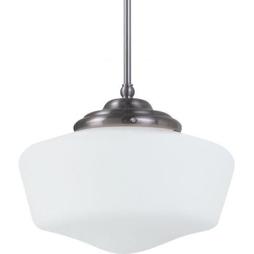 11 1/2' Three Light (Sea Gull Lighting 65437-962 Academy One-Light Pendant with Satin White Glass, Brushed Nickel Finish)