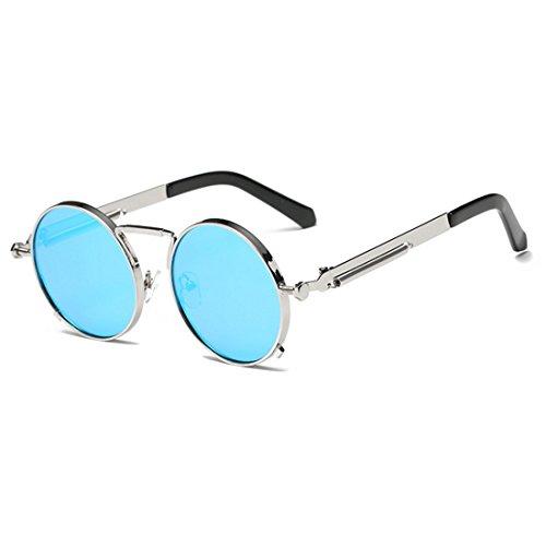 de lunettes et lunettes rétro Inlefen soleil Ice femmes Blue pour soleil rondes hommes Argent vintage Lunettes de lunettes xw1xq7gt