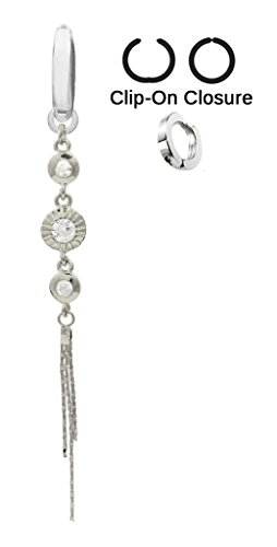 NEW STYLE Fake Belly Navel Non Clip on Cz Clear 3 Circle gem Long Dangle Ring