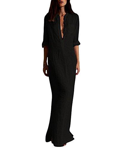 Romacci Women Shirt Dress Long Button-Down Shirts Blouse Dress Retro Casual Long Sleeve Maxi Loose Fit Black from Romacci
