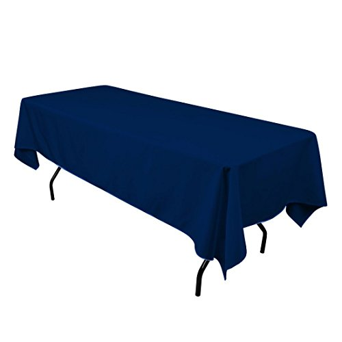Gee Di Moda Rectangle Tablecloth - 60 x 84 Inch - Navy Blue Rectangular Table Cloth for 5 Foot Table in Washable Polyester - Great for Buffet Table, Parties, Holiday Dinner, Wedding & More (Navy Blue Linen)