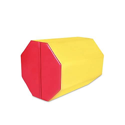 FurniTure 25″ x 30″ Gymnastics Mat Gymnastics Octagon Mats Octagon Tumbler Skill Shape Exercise Preschool Kids Gym Support Gymnastics Tumbling Aerobics, Yellow Red