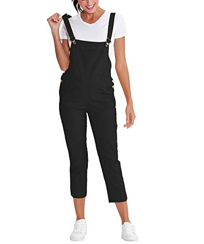 Amazhiyu Womens Straps Bib Overalls Jumpsuit Solid Capris Pants with Pockets Fall Casual Outfits for Juniors (Small, ()