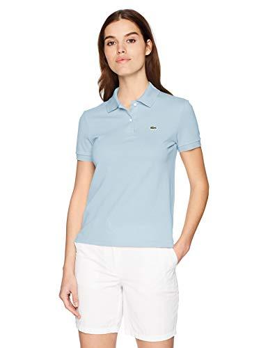 Lacoste Women's Classic Fit Short Sleeve Soft Cotton Petit Piqué Polo, Rill Light Blue, -