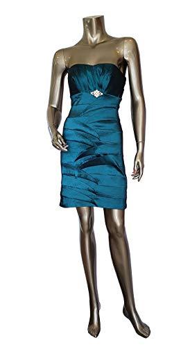 (Dancing Queen Pencil Skirt Short Teal Cocktail Dress Strapless Stretch Taffeta, S)