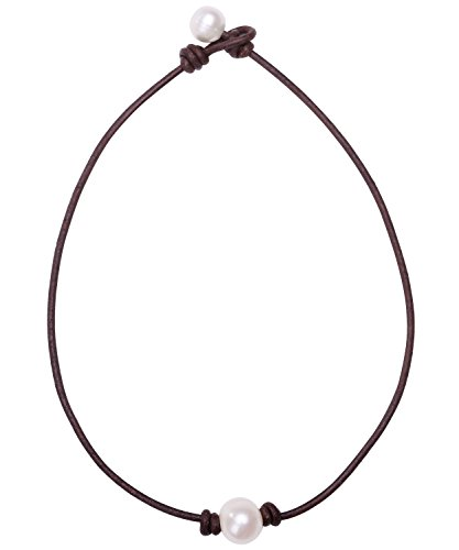 Aobei Pearl Single Cultured Freshwater Pearl Necklace Choker for Women Genuine Leather Jewelry Handmade 16'' Brown