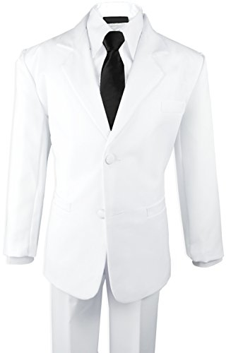 Black N Bianco Boys Formal Black Suit with Shirt and Vest (12, White with Black Tie)