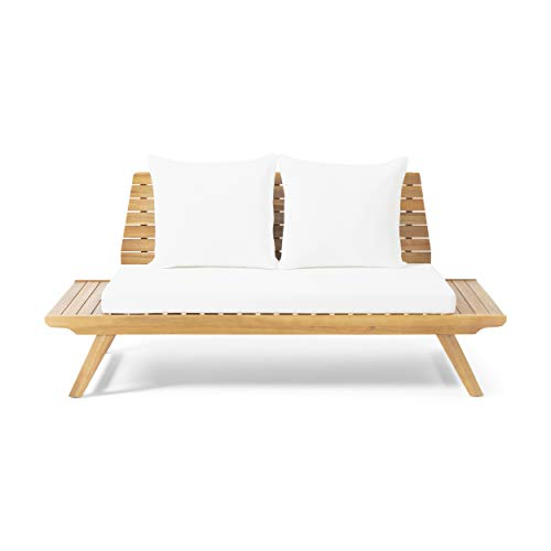 Great Deal Furniture Jessie Outdoor Wooden Loveseat with Cushions, White and Teak Finish