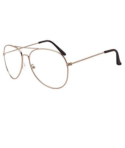 M.L.E. N.Y.C. Large Round Eye NonPrescription Women Fashion Clear Aviator Unisex Sunglasses Glasses Rose Gold Metal Lens - Sunglasses Ny&c