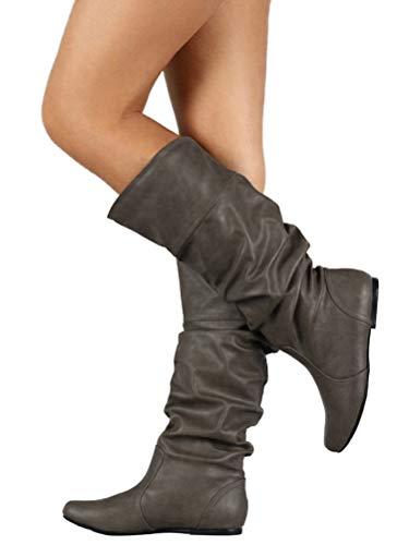 Inverno Boots Donna Stivali Grigio Pelle Pieghettati Autunno Stivali Alti Gli Stivali Moda Minetom Casual di da 7BZW6qqng