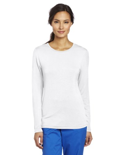 Jersey Top Love Label - WonderWink Women's Scrubs Silky Long Sleeve Viscose Rayon Tee, White, Medium