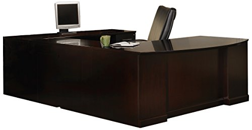 Mayline SURBBF72ESP Sorrento Series U-Shaped Desk with Executive U, Bow Front, Right Bridge, Puff-Desk, Off-Credenza Configurations, Espresso - Desk Executive Bow Front