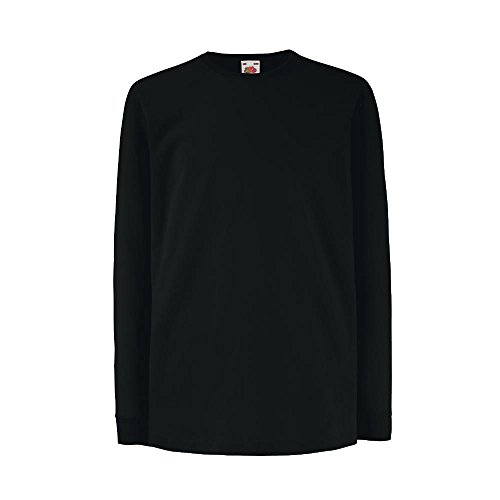 Fruit of the Loom - Kids Langarm T-Shirt Value Weight T 128,Black