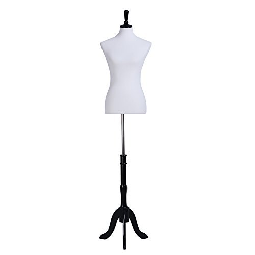 SONGMICS Female Mannequin Torso Body Dress Form with Black Tripod Stand, Medium Size 6-8, 34