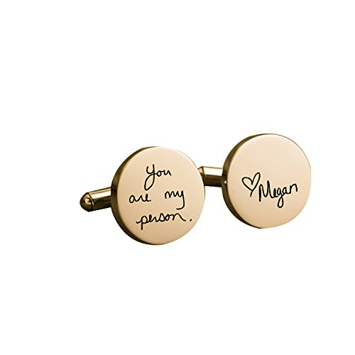 FUJIN Personalized 925 Sterling Silver Handwriting Wedding Cufflinks Custom Made with Any Letters - Co And To Tiffany Where Buy