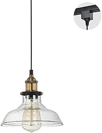 Kiven H-Type Track Light Pendants 7.87 Glass Lampshade Vintage Pendant Lamp Retro Lighting Industrial Factory Light Fixtures Restaurant Chandelier Decorative Bulb Not Included