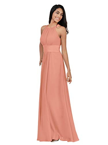 Alicepub Chiffon Bridesmaid Dresses Long for Women Formal Evening Party Prom Gown Halter, Peach Pink, US14 from Alicepub