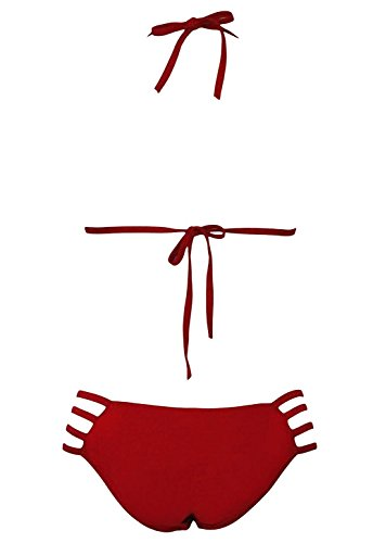 ompson Women's Red Sexy Strappy Hollow-out Pool Party Bikini Red M]()