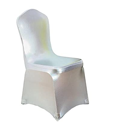 Sensational Ieventstar 6 Pieces Stretch Polyester Spandex Dining Chair Cover For Wedding Banquet Party 6 Metallic Silver Beatyapartments Chair Design Images Beatyapartmentscom