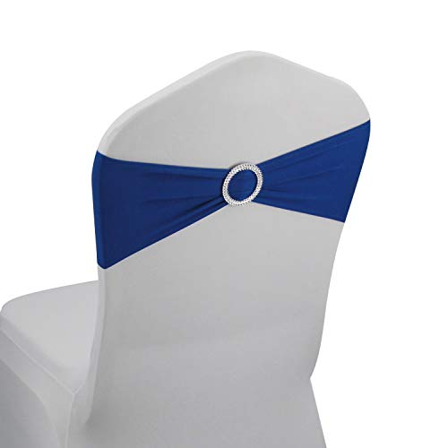 Royal Blue Spandex Chair Bands Sashes - 50 pcs Wedding Banquet Party Event Decoration Chair Bows Ties (Royal Blue, 50 ()