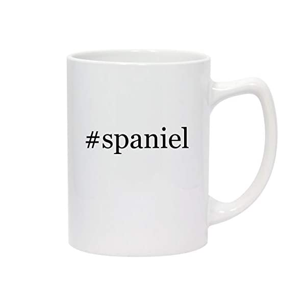 #spaniel - 14oz Hashtag White Ceramic Statesman Coffee Mug 1