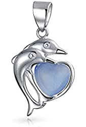 Bling Jewelry Dolphin Blue Cats Eyes Heart 925 Sterling Silver Pendant