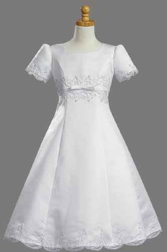 White Satin Embroidered A-Line Communion Dress - Size 16X by Swea Pea & Lilli