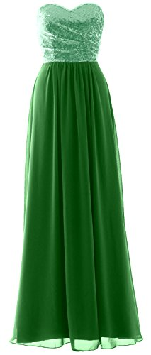 MACloth Elegant Strapless Long Bridesmaid Dress Sequin Chiffon Party Formal Gown (EU40, Green-Mint)