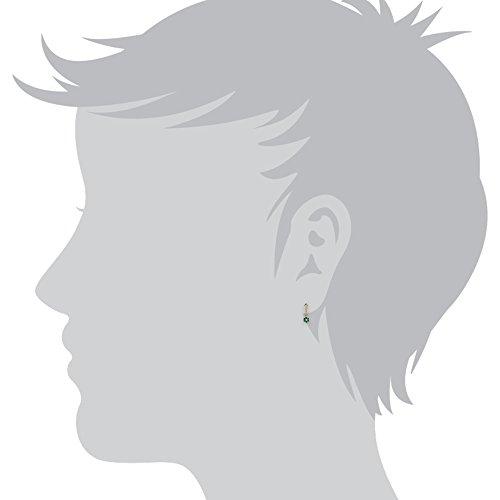 Gemondo Bague Émeraude Boucles d'oreilles, or jaune 9carats 0.37Ct émeraude et diamant-Boucles d'Oreilles Pendantes Femme-Motif floral