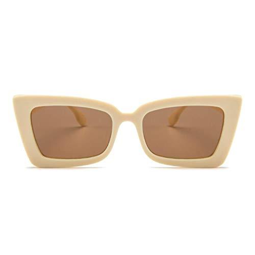 GAMT Rectangular Sunglasses For Women Men Retro Personality Square Eyeglasses Beige Frame Tea Lens