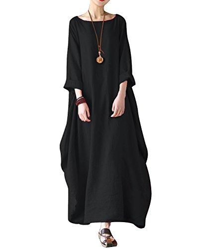 Biubiu Femmes Taille Plus Lin Coton Rayé Tunique Manches Chauve-souris Caftans Robe Maxi-s 5xl Noir # 2
