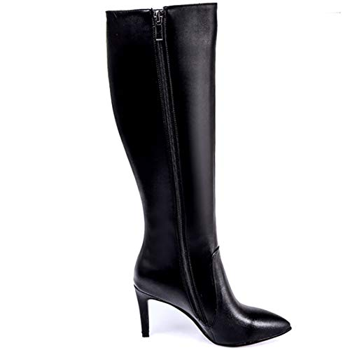 Toe Elecall ELEHOT Black Pointed Knee Zippers high Leather Boots Stiletto Womens gYSS5nBqp