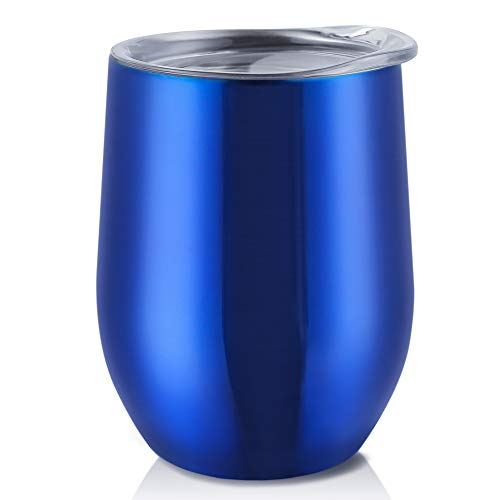 (Antner 12 oz Stemless Wine Glass Tumbler Double-insulated Stainless Steel Wine Cup with Press-In Lid Home Office Tumbler Cup for Wine Coffee Drinks Champagne and Cocktails, Blue)