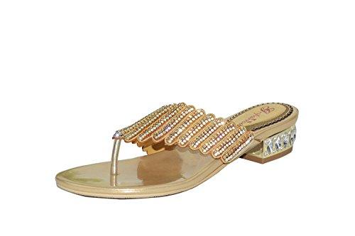 Step n Style - Sandalias de vestir para mujer dorado dorado, color dorado, talla 36 2/3