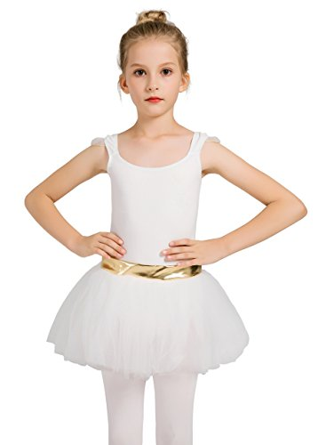 DANSHOW Girls'Tank Skirt Leotards for Ballet Dance with Tutu, Gold Waist and Flying Sleeves(6-8,white) by DANSHOW