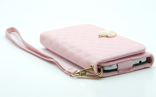 ZZYBIA® IP5 PQC Pink Leatherette Wristlet Pouch Case Card Holder Wallet for Apple Iphone 5 5s