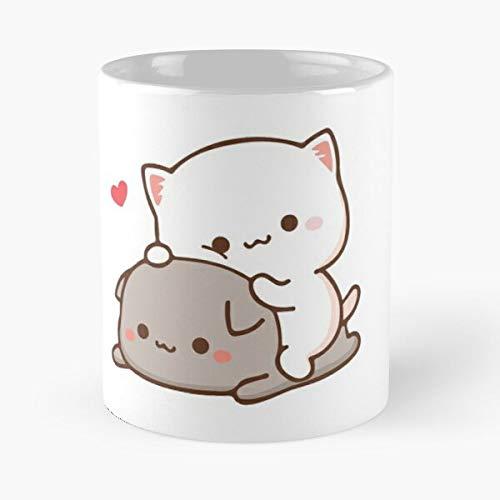 Kitty Kawaii Cute Romantic Peach Cat Goma Mochi Best Mug holds hand 11oz made from White marble ceramic