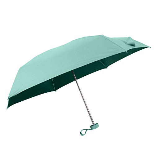 Flat Lightweight Umbrella Parasol Folding Sun Umbrella Mini Umbrella Home Garden Rain gear (Green 2) (Easy Garden Parasol Sun Sun)