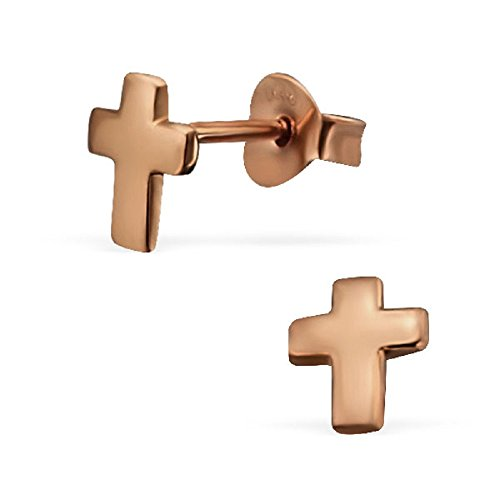 [925 Sterling Silver Rose Gold Plate Cross Stud Earrings 21557] (Butterfly Gold Cross)