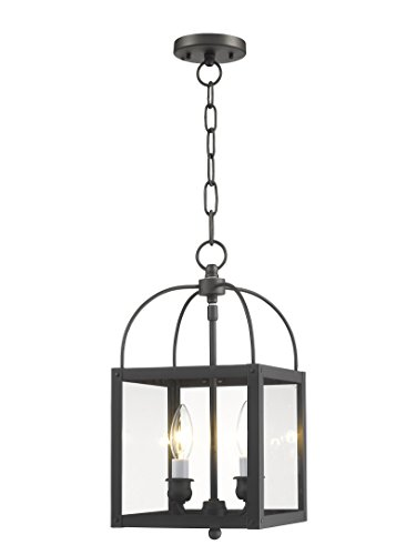 - Livex Lighting 4041-07 Milford 2-Light Convertible Hanging Lantern/Ceiling Mount, Bronze