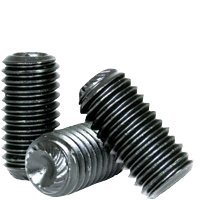 "1/4""-20x1/4"" UNC KNURLED CUP POINT SOCKET SET SCREW, THERMAL BLACK OXIDE, ALLOY (INCH) 