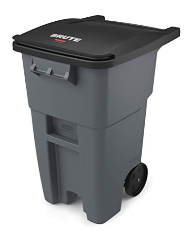 Rubbermaid Commercial Products FG9W2700GRAY BRUTE Rollout Heavy-Duty Wheeled Trash/Garbage Can, 50-Gallon, Gray ()