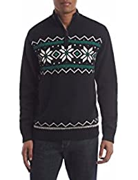 Men's Classic-Fit Snowflake Quarter-Zip Sweater, Black