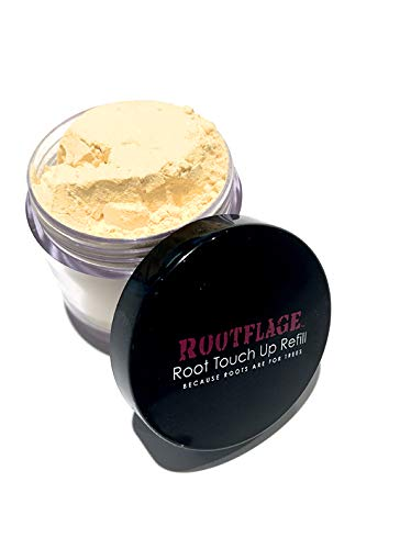 Rootflage Instant Blonde Root Touch Up Hair Powder - Temporary Hair Color, Root Concealer, Thinning Hair Powder and Concealer Refill Jar with Detail Brush Included (03 Warm Blonde)