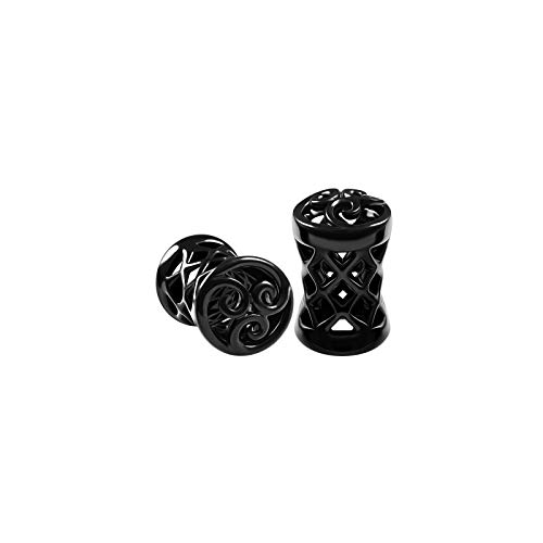 BIG GAUGES Pair of Blackline Alloy 4gauges 5 mm Double Flared Saddle Piercing Jewelry Ear Flesh Tunnel Stretcher Earring Plugs BG6116