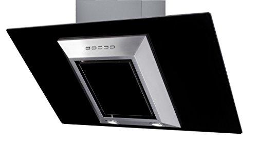 Campana de Cocina IHD CH Guiza de 90 cms en Acero Inoxidable con Cristal Vertical Negro y Ducto Extraible; de Diseño...