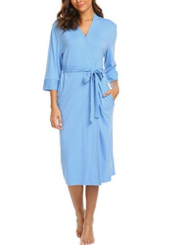 BLUETIME Women's Sleepwear Lightweight Jersey Wrap Robe with Pockets (XL, Light Blue) (Kimono Jersey)